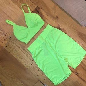 neon lime biker short set 💸💸